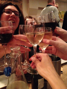 'Cheers, to Jan and Ce!'